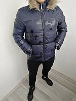 Новые Мужские Зимние Болоньевые Куртки Турецкие Куртка Мужская Темно-Синяя С Мехом