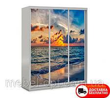 Шкаф купе 3Д трехдверный Море 17, выбор цвета корпуса и рисунка