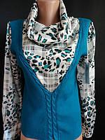 Нарядная кофточка с вязаной жилеткой , фото 1