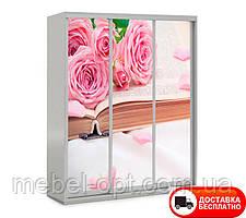 Шкаф купе 3Д трехдверный, Цветы 19 выбор цвета корпуса и рисунка