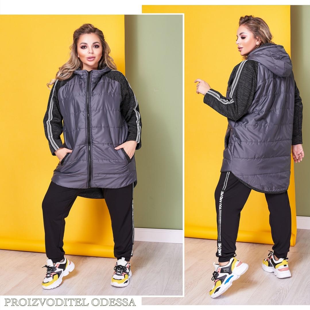 Куртка женская удлиненная плащевка рукав букле на флисе размер: 58-60