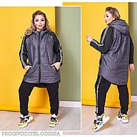 Куртка женская удлиненная плащевка рукав букле на флисе размер: 58-60, фото 1