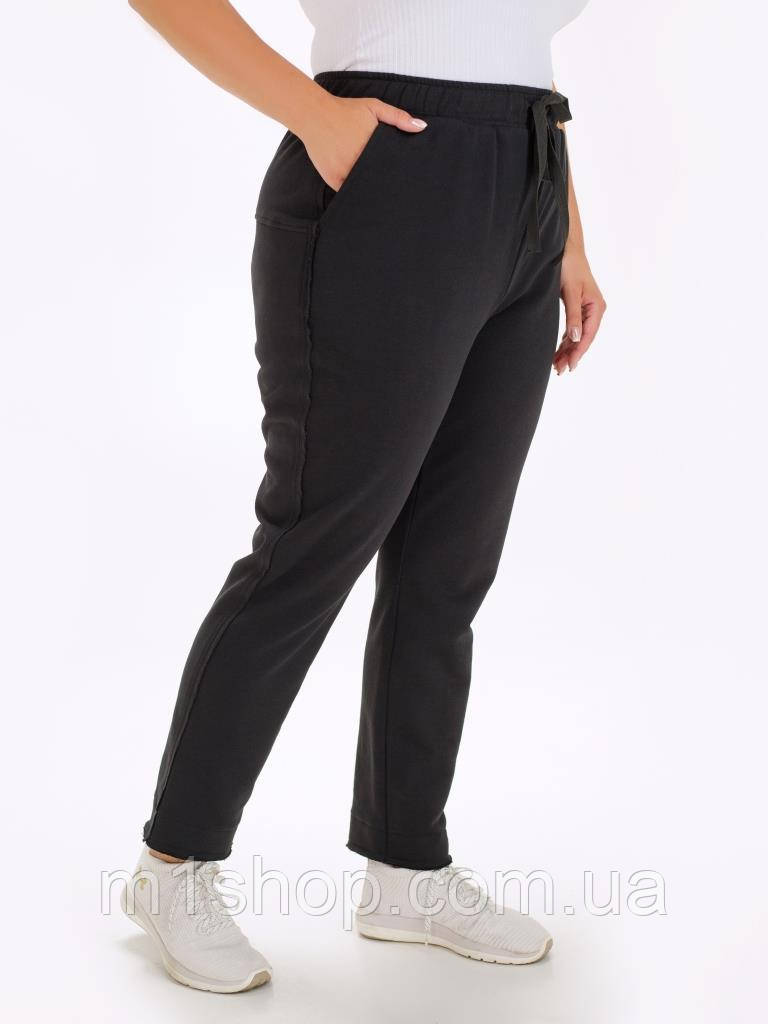 Женские черные брюки-джоггеры больших размеров из футера (Стеви lzn)