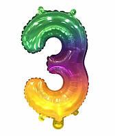 """Шар цифра """"3"""" омбре радуга двухсторонняя, 35 см"""