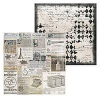 1 Лист двусторонней бумаги для скрапбукинга, коллекция Steampunk 30х30 см.