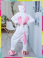 Пижама Кигуруми Пегас Розовый, единорог белый с розовым, для взрослых и детей, унисекс S