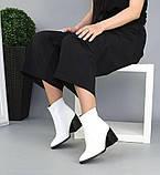 Женские зимние ботильоны с острым носком белая кожа женские, фото 6