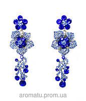 Серьги розы с камнями синие  8см-3307