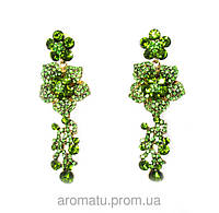 Серьги розы с камнями зеленые  8см-3307
