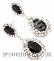 Серьги вечерние с черными камнями 6см 330561