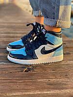 Женские баскетбольные кроссовки Nike Air Jordan 1 Retro Blue Patent (Высокие кроссовки Найк Аир Джордан 36-40)