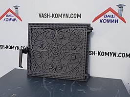Чугунная дверца печная узором 34,5 х 39,5 см