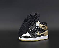Женские баскетбольные кроссовки Nike Air Jordan 1 Retro Black Gold (Женские кроссовки Найк Аир Джордан Ретро)