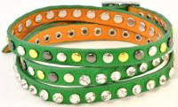 Браслет зеленый кожаный 143