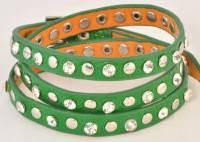 Браслет кожаный зеленый 134