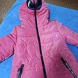 Куртка для девочки с очками теплая. Капюшон застегивается полностью. В комплект  входят очки., фото 3