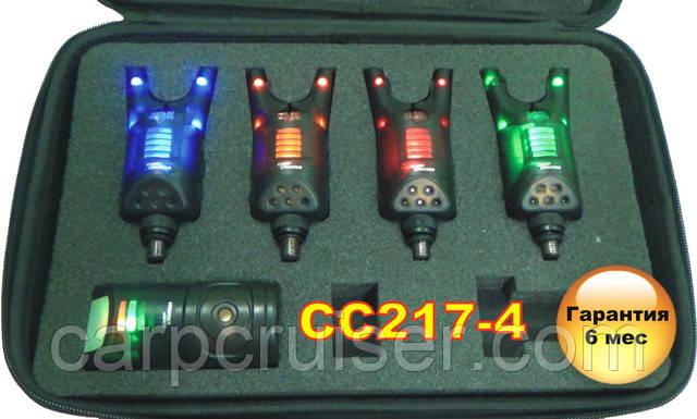 Carp Cruiser CC217-4 Набор электронных сигнализаторов поклевки 4+1 со светодиодной подсветкой в кейсе