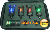 Carp Cruiser CC217-4 Набор электронных сигнализаторов поклевки 4+1 со светодиодной подсветкой в кейсе, фото 1