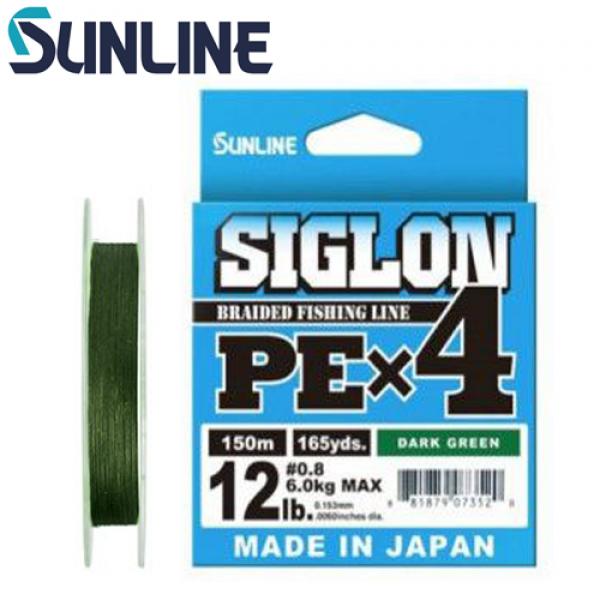 Шнур Sunline Siglon PE X4 #0.4 150м (темно-зеленый), шнур для ультралайта, микроджига