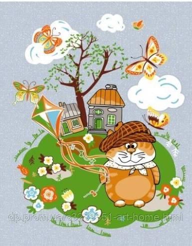 """Вафельное полотенце с котом """"Мурлыки"""" 50*60 см, вид 3"""