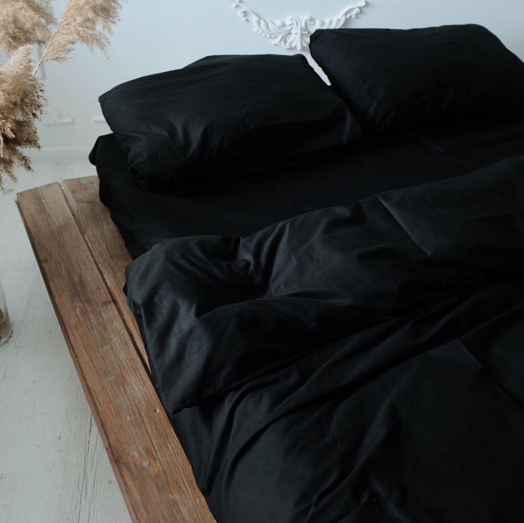 Однотонний чорний сатиновий комплект постільної білизни 100% бавовна, Полуторний розмір