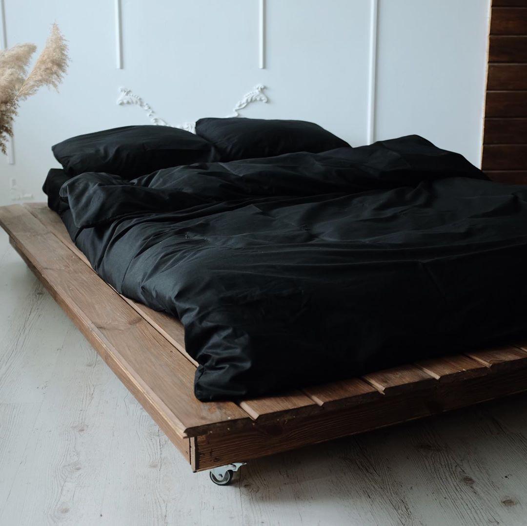 Однотонный черный сатиновый комплект постельного белья 100% хлопок, двуспальный размер