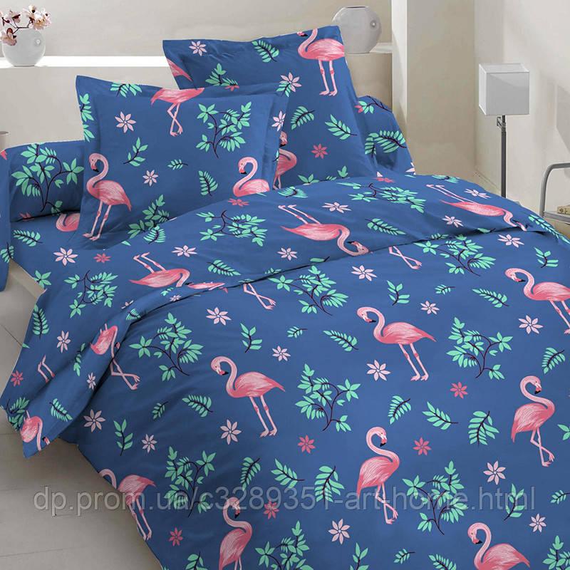Фламинго в зеленых листьях (Полуторный)