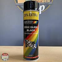 Краска (эмаль) акриловая универсальная Motip, 500 мл Аэрозоль Черный глянец