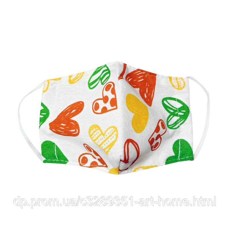 Детская маска защитная многоразовая Time Textile Сердечки
