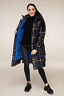 Зимова куртка подовжена в клітку з контрастною підкладкою з 44 по 56 розмір, фото 7