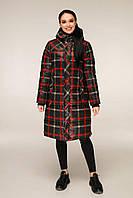 Зимова куртка подовжена в клітку з контрастною підкладкою з 44 по 56 розмір, фото 2