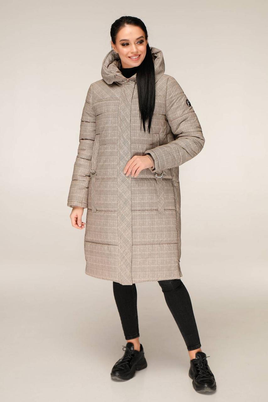 Зимова куртка подовжена в клітку з контрастною підкладкою з 44 по 56 розмір