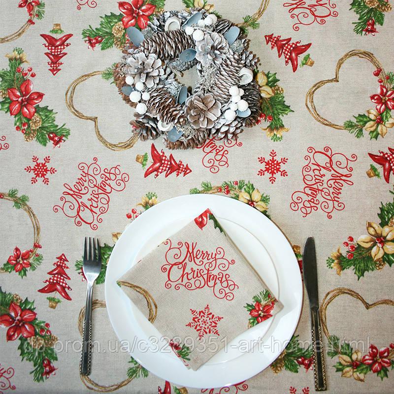 Скатерть Merry Christmas Hearts     100x160