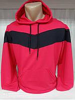 Худи кофта спортивная с капюшоном мужская красного цвета с черной вставкой