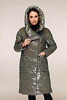 Удлиненная зимняя куртка из лаковой плащевки с объемным воротником-капюшоном с 44 по 54 размер, фото 5