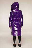 Удлиненная зимняя куртка из лаковой плащевки с объемным воротником-капюшоном с 44 по 54 размер, фото 4