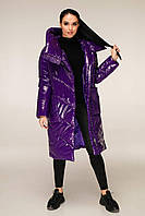 Удлиненная зимняя куртка из лаковой плащевки с объемным воротником-капюшоном с 44 по 54 размер, фото 7