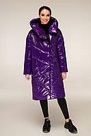 Удлиненная зимняя куртка из лаковой плащевки с объемным воротником-капюшоном с 44 по 54 размер, фото 9