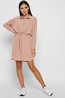 Женское платье с рубашечным воротником на пуговицах пудровое