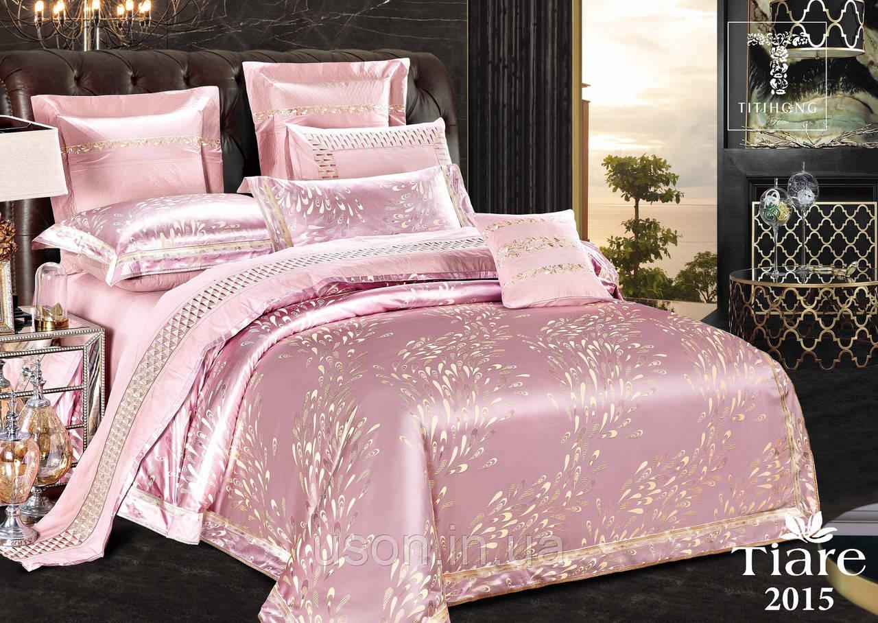 Комплект  постельного белья сатин жаккард Тиара евро размер 2015