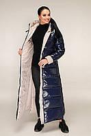 Молодіжний довгий пуховик з лакової плащової тканини з контрастною підкладкою з 44 по 58 розмір, фото 4