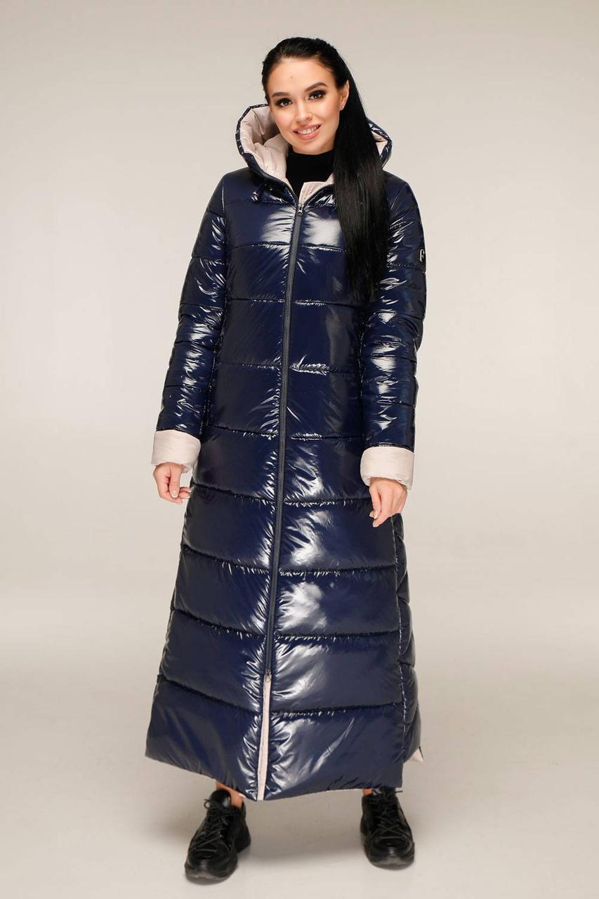 Молодіжний довгий пуховик з лакової плащової тканини з контрастною підкладкою з 44 по 58 розмір