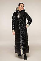 Молодіжний довгий пуховик з лакової плащової тканини з контрастною підкладкою з 44 по 58 розмір, фото 8