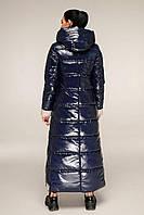 Молодіжний довгий пуховик з лакової плащової тканини з контрастною підкладкою з 44 по 58 розмір, фото 6