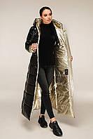 Молодіжний довгий пуховик з лакової плащової тканини з контрастною підкладкою з 44 по 58 розмір, фото 9