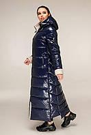 Молодіжний довгий пуховик з лакової плащової тканини з контрастною підкладкою з 44 по 58 розмір, фото 7