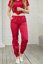 Практичные женские медицинские красные брюки из коттона 42-56