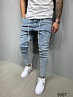 Джинсы синие мужские узкие молодёжные стильные светло-синие мужские джинсы зауженные