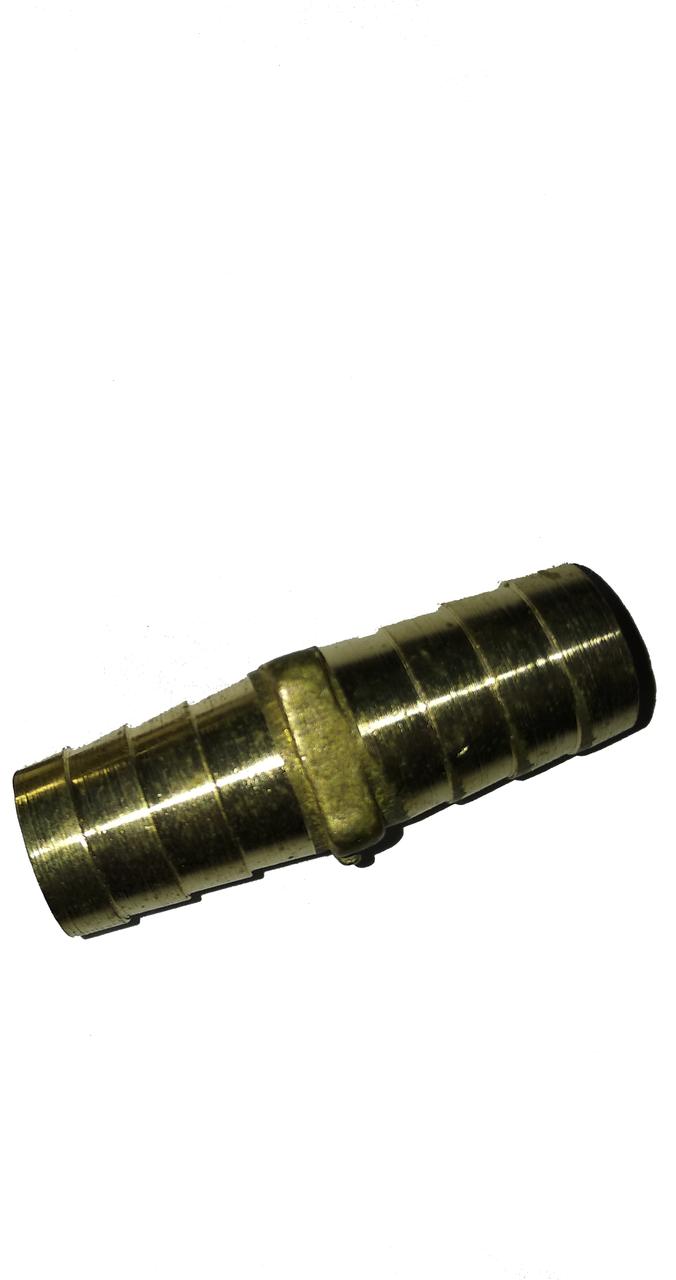 Соединитель латунный для шланга 10 мм Н-Т D12-LT