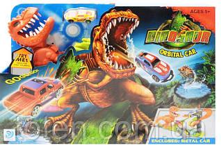 Трек гоночный Динозавр Рекс подвижный с машинкой длина 60 см. Звук, батарейка аналог Hot Wheels  8899-91